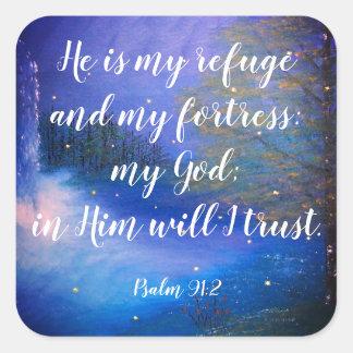 Etiquetas cristãs da escritura do 91:2 do salmo