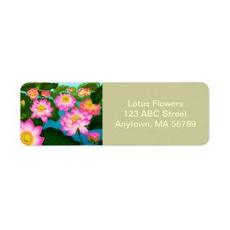 Etiquetas customizáveis do jardim de Lotus Etiqueta Endereço De Retorno