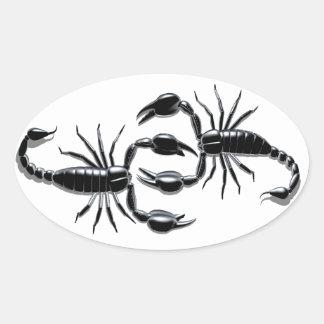 Etiquetas da batalha do escorpião adesivo oval