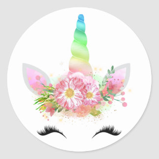 Etiquetas da cara do unicórnio do arco-íris