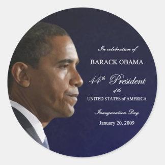 Etiquetas da celebração da inauguração de Obama Adesivo Redondo