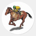 Etiquetas da corrida de cavalos adesivo redondo