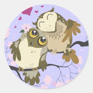 Etiquetas da coruja do pássaro do amor