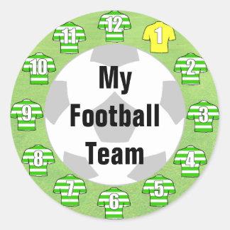 Etiquetas da equipa de futebol com as camisas