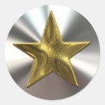 Etiquetas da estrela e da prata do ouro adesivo em formato redondo