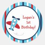 Etiquetas da festa de aniversário do avião adesivo em formato redondo