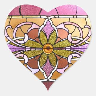 Etiquetas da flor do vitral adesivo em forma de coração