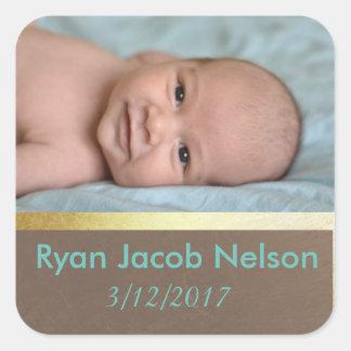 Etiquetas da foto do bebê do anúncio do nascimento adesivo quadrado