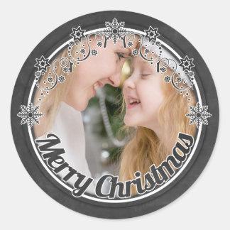 Etiquetas da foto do Natal do quadro do vintage Adesivos Em Formato Redondos