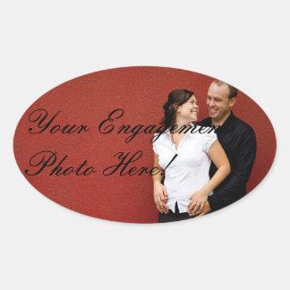 Etiquetas da foto do noivado do casamento ovais adesivo oval