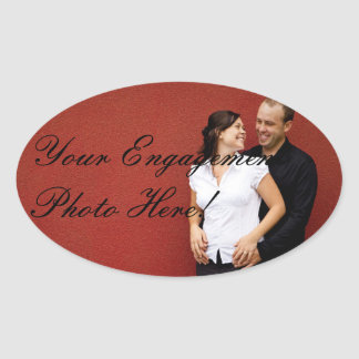 Etiquetas da foto do noivado do casamento ovais adesivos oval