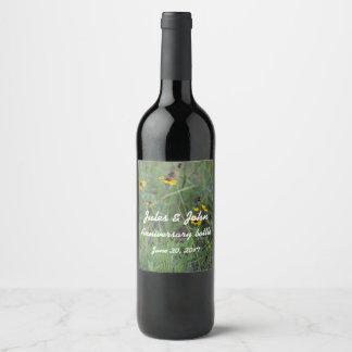 Etiquetas da garrafa de vinho do campo de flor