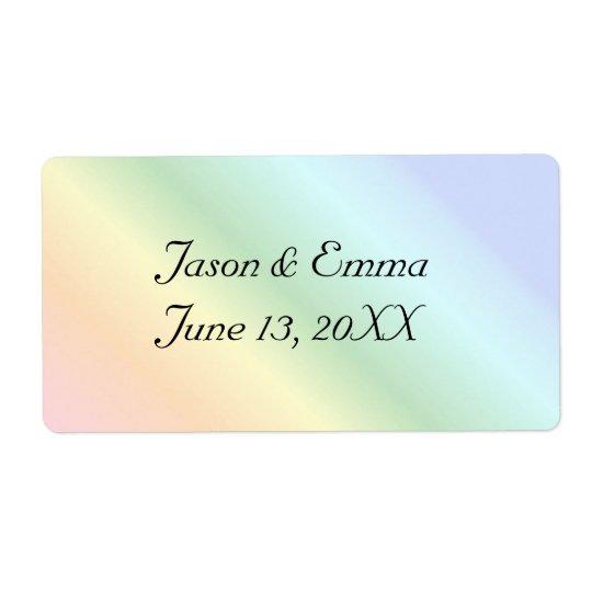 Etiquetas da garrafa do casamento do arco-íris etiqueta de frete