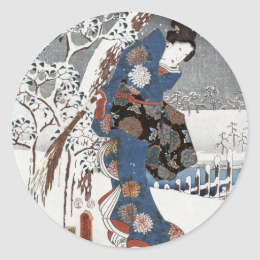 Etiquetas da gueixa da neve adesivos redondos