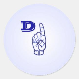 Etiquetas da letra D do linguagem gestual grandes Adesivo Em Formato Redondo