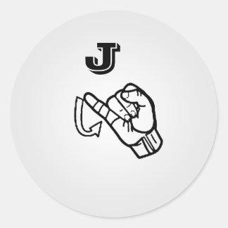 Etiquetas da letra J do linguagem gestual grandes Adesivos Redondos