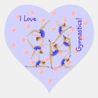 Etiquetas da menina do Gymnast Adesivos De Corações