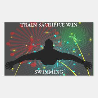 Etiquetas da natação da vitória do sacrifício do adesivo retangular