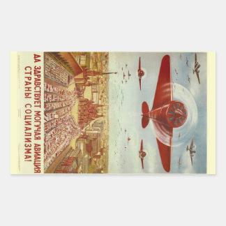 Etiquetas da propaganda da aviação do russo do adesivo retangular