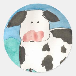Etiquetas da vaca adesivos redondos
