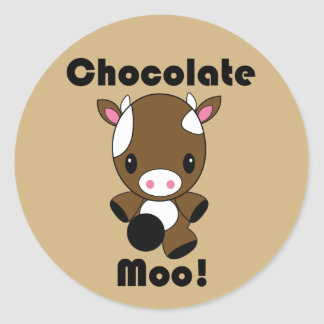 Etiquetas da vaca do MOO Kawaii do chocolate Adesivos Redondos