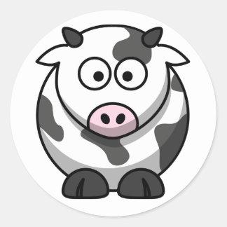 Etiquetas da vaca dos desenhos animados adesivo em formato redondo
