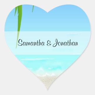 Etiquetas dadas forma coração da praia/oceano adesivo em forma de coração