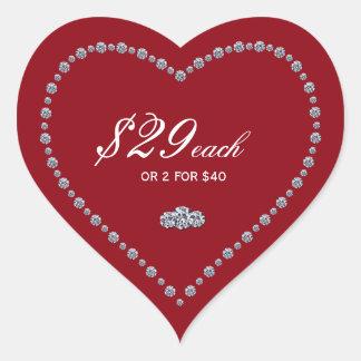 Etiquetas dadas forma coração do preço adesivo coração