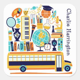 Etiquetas das ilustrações da escola