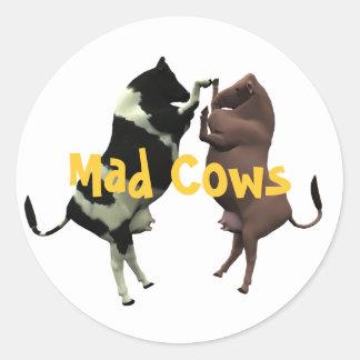 Etiquetas das vacas loucas! adesivos em formato redondos