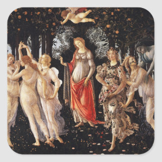 Etiquetas de Botticelli Primavera Adesivo Quadrado