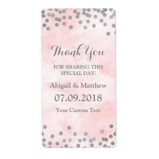 Etiquetas de casamento cor-de-rosa dos confetes da