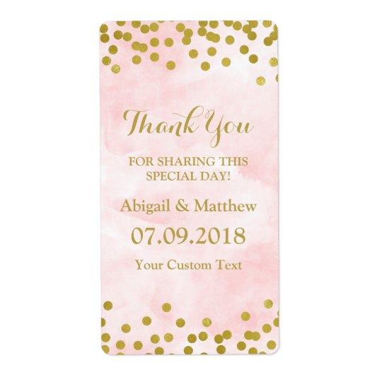 Etiquetas de casamento cor-de-rosa dos confetes do