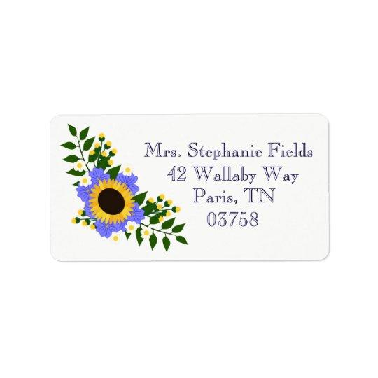 Etiquetas de casamento do girassol etiqueta de endereço