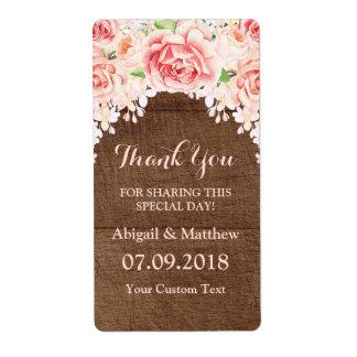 Etiquetas de casamento florais da madeira de Brown