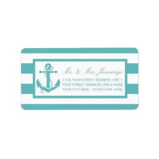 Etiquetas de casamento náuticas da âncora da etiqueta de endereço