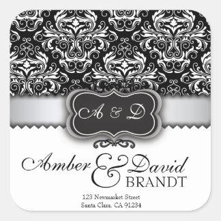 Etiquetas de casamento pretas elegantes do damasco adesivo quadrado