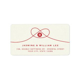 Etiquetas de casamento vermelhas do chinês da