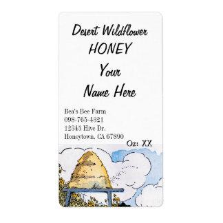 Etiquetas de colocação em latas do mel feito sob