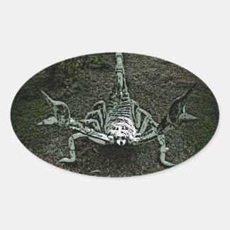 Etiquetas de combate do escorpião adesivo oval