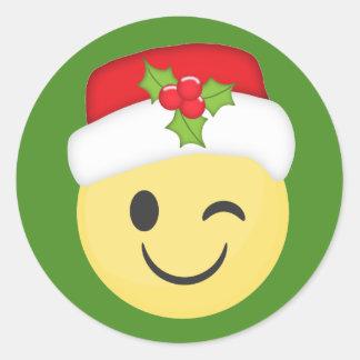 Etiquetas de Emoji do piscar os olhos do Natal