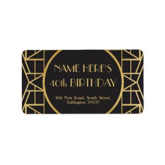 etiquetas de endereço 20s de Gatsby do aniversário