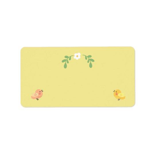 Etiquetas de endereço amarelas das aves canoras do etiqueta de endereço