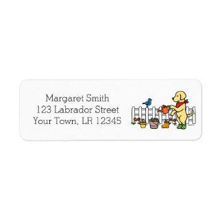 Etiquetas de endereço amarelas do jardineiro de