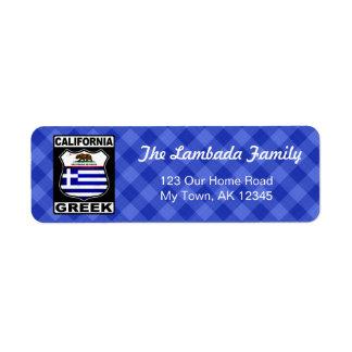 Etiquetas de endereço americanas gregas de