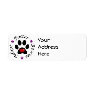 Etiquetas de endereço animais do salvamento