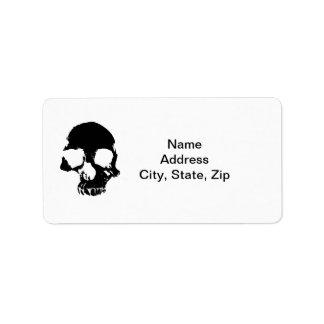 Etiquetas de endereço assustadores do crânio