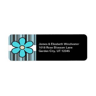 Etiquetas de endereço azuis da flor e das listras etiqueta endereço de retorno