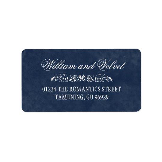 Etiquetas de endereço azuis do casamento da