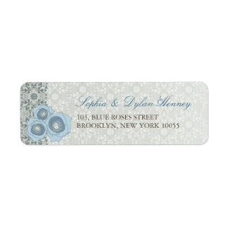 Etiquetas de endereço azuis do casamento do laço